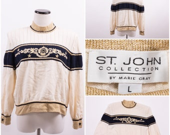 ST. JOHN By Marie Gray Vintage Nautical Knit Sweater with Embroidery
