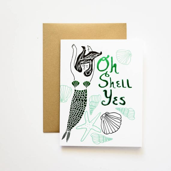 Oh Shell Yes! Mermaid with Green Foil Greeting Card