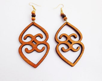 Asaase Ye Duro Earrings Wooden Jewelry  African Adinkra Wood Beaded Ethnic Afrocentric Handmade
