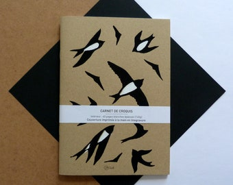 sketchbook black white swallows printed by hand