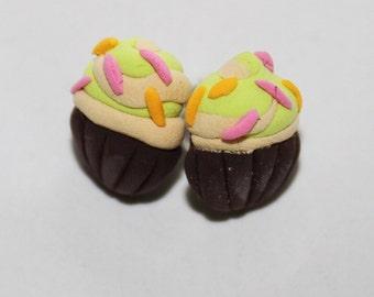 Cupcake stud earrings, Cute food earrings, Desert jewelry, Cupcake jewelry, Pistachio cupcake earrings