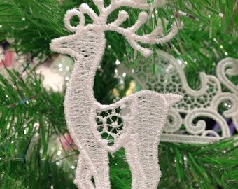 Reindeer Lace Christmas Tree Ornament - Lace Reindeer Ornament for Christmas Tree
