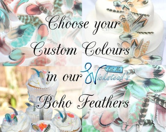 Edible Feathers Custom Colours Boho Rustic Wafer Rice Paper Personalised Decorations Customised Wedding Cake Toppers Birthday Cupcake Decor