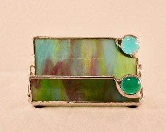 Stained Glass Business Card Holder - Business Card Holder - Office Decor - Blue Business Card Holder - Desk Accessory