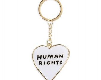 Human Rights Heart Keychain
