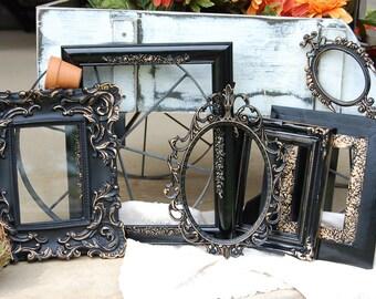Black Picture Frames Set - Wedding Frames - Gallery Picture Frames - Vintage Style Frames - Set Of 6 Shabby Chic Wall Frames
