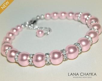 Pink Pearl Bridal Bracelet Swarovski Rosaline Pearl Silver Bracelet Blush Pink Wedding Bracelet Bridesmaid Pink Jewelry Bridal Jewelry