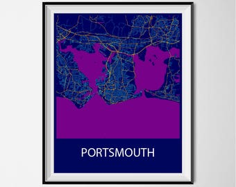 Portsmouth Map Poster Print - Night