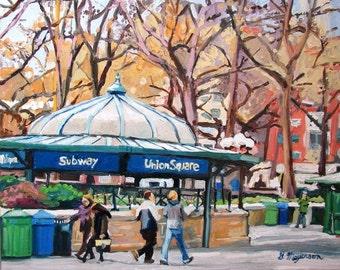 Union Square New York Art NYC framed Wall Decor Print  8x10, 11x14, 12x16 New York Cityscape Painting white frame, black frame Gwen Meyerson