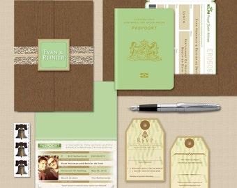 EVAN Passport and Boarding Pass Custom Destination Wedding Invitation Suite, Netherlands Passport Booklet Airline Plane Ticket Travel Invite