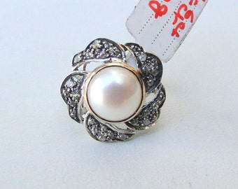 Victorian Diamond Pearl Sterling Silver Finger Ring Rajasthan India
