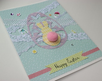 Happy Easter Cards Easter Card, Handmade Easter Card, Easter Greeting Card, Happy Easter Handmade Card Spring Bunny Card Easter Bunny Card