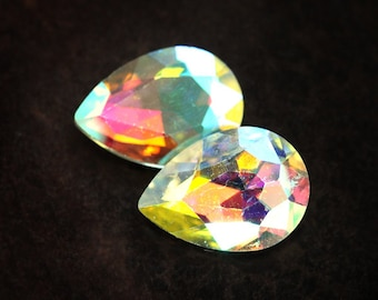 Sparkling 18x13 Pear Crystal AB Point Back Glass Jewels, 18x13mm Pears Teardrops, Quantity 2