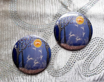 Dance of the Moon Hares Pocket Mirror