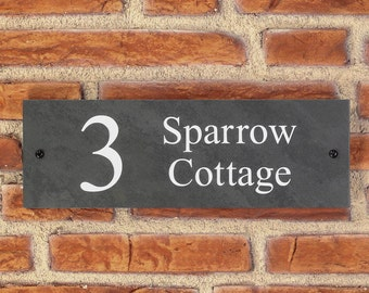 Personalised Slate / House Sign / Plaque / Door / Number / Gate / 300mm x 100mm