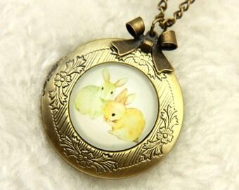 Rabbit Necklace locket two bunnies 2020m