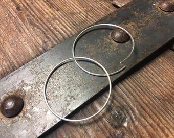 1.8 Inch Hoop Earring - Seamless Hoops - Sterling Silver (45mm)