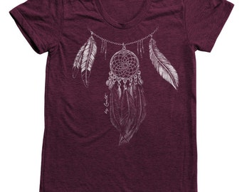 DREAMCATCHER Shirt Women Custom Hand Screen Print Tri-Blend Short Sleeve Tshirt Available: S, M, L, XL