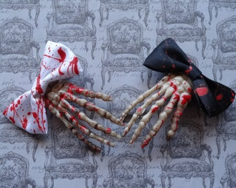Blood spattered Skeleton hand hair clip, hair bow