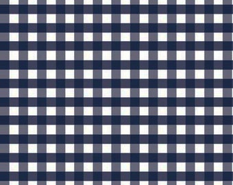 Navy Medium Check Fabric by Riley Blake