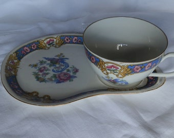 1930's Union Czecho Slovakia Blue and Pink Floral Bird of Paradise Tea Cup and Plate Set