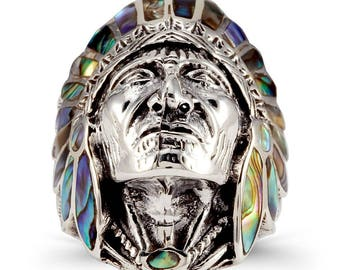 925 Silver Abalone Native American Indian Chief Ring