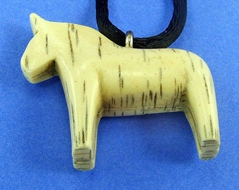 SaLe Horse Vintage Pendant Dog Necklace Modern Clearance Faux Bone Ivory Lucite Plastic Figural Rockabilly Satin Corded Boho Retro Hippie