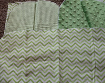 Green Chevron Burp Cloth