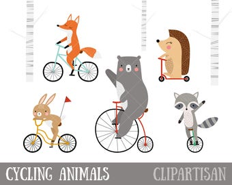 Cycling Animals Clipart | Bear Riding a Bicycle | Fox Illustration | Rabbit Illustration | Raccoon Illustration