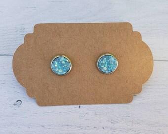 8mm Robin Egg Druzy Earring / Surgical Steel Earrings / Faux Druzy Earrings / Stud Earrings / Rose Gold Earrings / Childrens Earrings