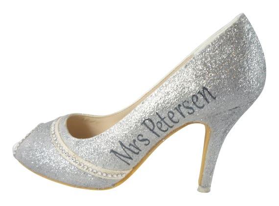 Champagne 5 High with with Heels Silver Swarovski Rhinestones or Sparkle peep inch Gold Glitter Name Wedding 3 Personalized Custom toe EWqanP7w