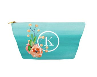 "Personalized Make Up Bag, Cosmetic Case, Carrying Pouch, Accessory Pouch 12.5""x8.5"" or 8.5""x6"" Floral watercolor, Teal Ombre"