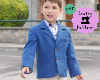 Boys Suit Jacket sewing Pattern, PDF Pattern sizes 2 - 7 years, Boys Sport Jacket , boys suit coat - blazer pdf, INSTANT Download SMART