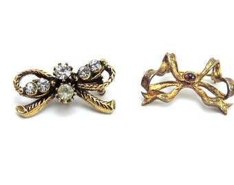 Pin, Brooch, Gold Toned Bow Pins, Vintage Jewelry