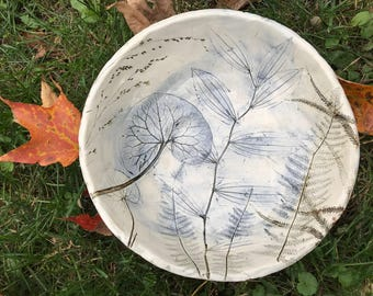 Wildflower plant impressions in hand-made pottery bowl for someone that loves nature.