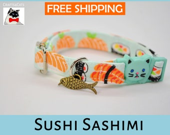 Breakaway cat collar 'Sushi Sashimi',cat collar,kitten collar,cat collar with fish charm,mint cat collar,blue,silver,Crafts4Cats