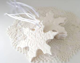 Clay Snowflakes | Ceramic Snowflake | Christmas Ornaments | Textured Ornaments | Textured Clay | MADE TO ORDER