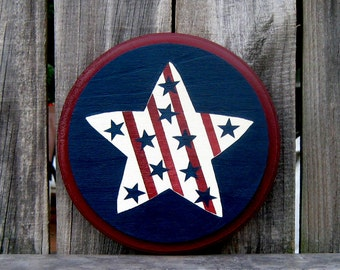 Star Sign, Americana, Primitive Star, Stars and Stripes, Round Sign, Painted Wood, USA, Patriotic Sign, America, Red, White, Blue
