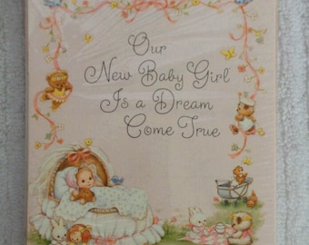 Vintage HALLMARK Baby GIRL BIRTH Announcement Note Cards 10 Cards + Matching Envelopes Sealed