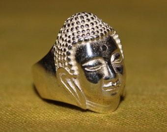 Cast Solid Sterling Silver Bodhisattva Buddha ring Weight 9.2g - Five Sizes available
