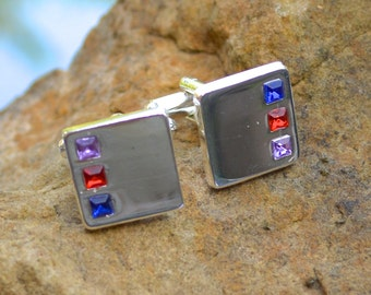 Shiny Mirrored Silver Finish Cufflinks Set with Coloured Crystals - T-Bar Fitting - Squares - Gift Boxed
