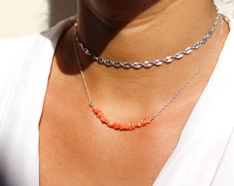 """Set of 2 necklaces"" natural coral orange-red, the sterling silver chain necklace 925"