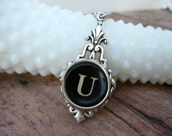 Typewriter Key Jewelry - Typewriter Necklace - Letter U - Typewriter Charm - Vintage Key