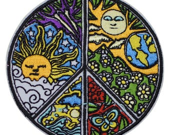 Peace Sign Patch - Sun, Earth, Clouds, Moon, Butterflies, Flowers (Iron on)