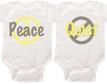 Funny Twin One Pieces Boy Girl Twin bodysuits Baby Boy Twins Girl Twins Newborn Creepers to Toddler Tees