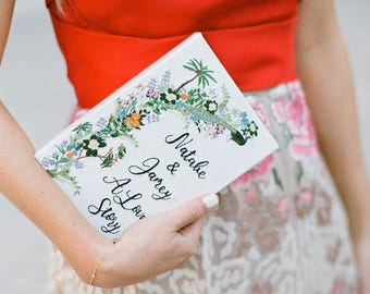 Custom bridal book clutch, Wedding book purse, Personalized bridal accessoires, A Love Story handbag, White bridal embroidered clutch