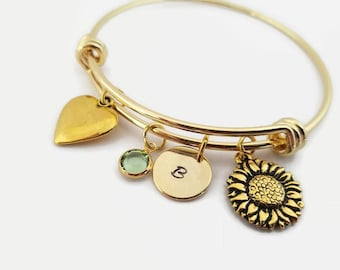 Gold sunflower and heart bracelet, gold personalized bangle bracelet, sunflower jewelry, gift for mom, spring themed jewelry, gift for her