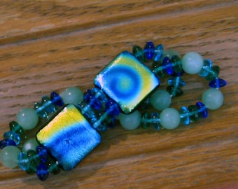 Blue Glass Bracelet, Summer Jewelry, Fused Glass Stretch Bracelet, Dichroic Jewelry Stretch Bracelet  - Blue and Gold Tie Dye