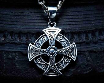 Celtic Cross Necklace. Solar Druid Sterling silver talisman. Irish pendant. Pagan amulet