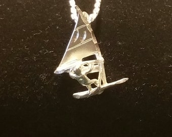 Sterling Silver Wind Surfer Pendant Necklace